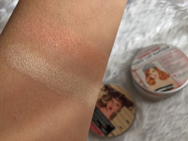 the balm cindy lou manizer + mary lou manizer swatch comparison.JPG