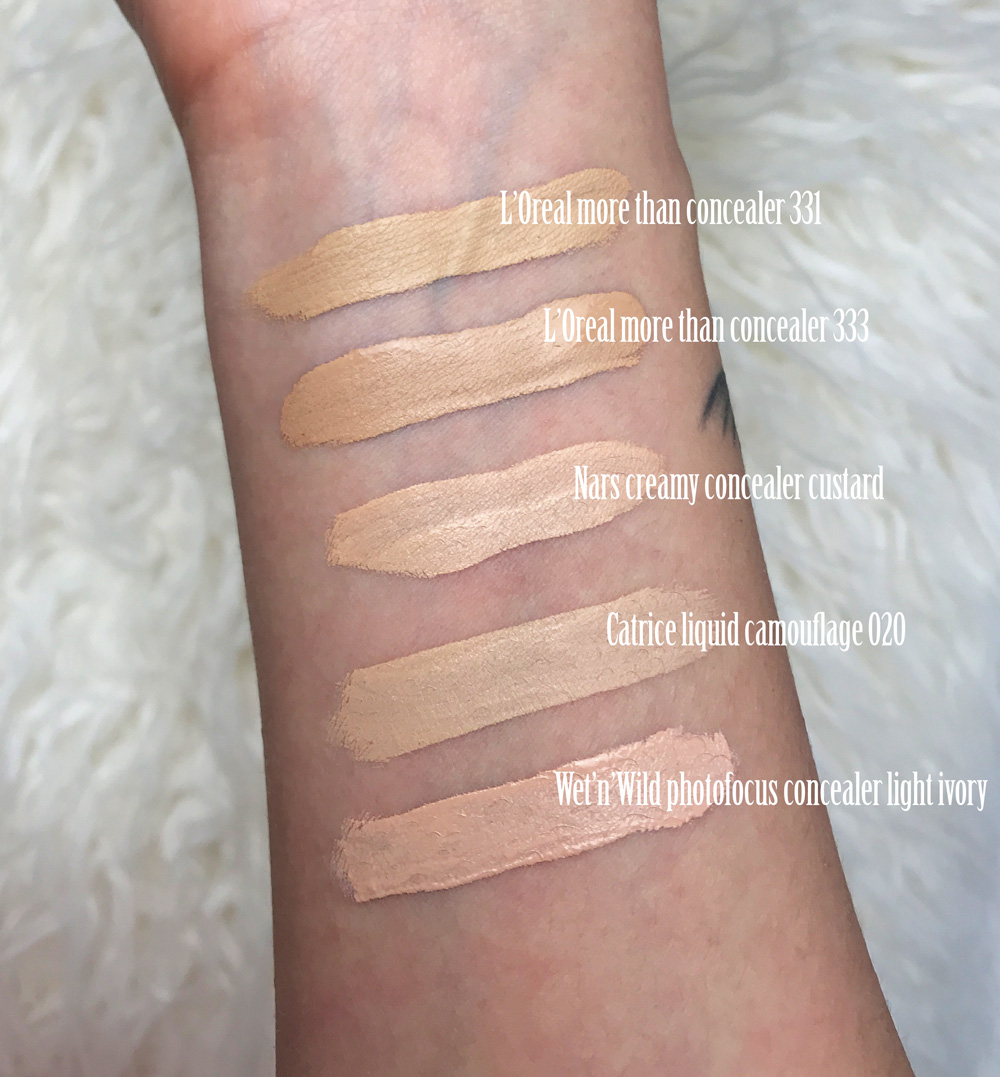 loreal-more-than-concealer-swatches-nars-catrice-wet'n'wild.jpg